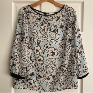 LOFT Baby Blue Floral Print 3/4 Sleeve Top Small